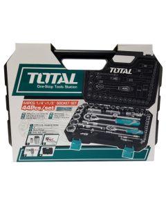 Trusa de chei tubulare 1/2 + 1/4 cu antrenor 44 piese Total Tools (Industrial)