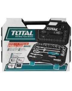 Trusa de chei tubulare 1/2 cu antrenor 25 piese Total Tools (Industrial)