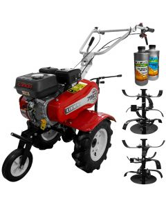 Pachet motosapa Loncin 750 ECO 7 CP benzina freze 50-90 cm roti cauciuc + CADOU 1L Ulei motor + 1l ulei transmisie AgroPro