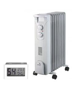 Calorifer electric cu ulei Descon DA-J2050F Turbo putere 2500W termoventilator 500W + Termometru digital AgroPro