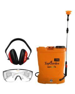 Pachet vermorel electric TopGarden 16l 12V/8AH lance telescopica inox + Cadou masca si ochelari protectie