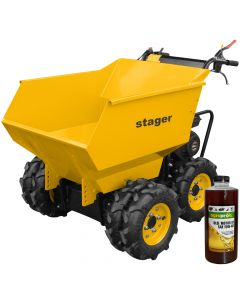 Roaba basculanta cu motor termic Stager RMT500 motor 6.5 CP sarcina 500 kg 6 roti 1l ulei AgroPro